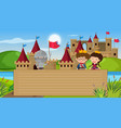 border template with fairytale theme in background vector image vector image