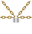 brown chains locked by padlock in silver design vector image vector image