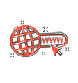 cartoon go to web icon in comic style globe world vector image vector image