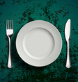 Ceramic plate fork and knife vector image