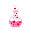 chemistry flask with hearts and love poison vector image vector image