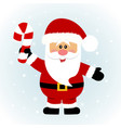 christmas card santa santa with with candy cane vector image