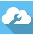 Cloud Tools Flat Square Icon with Long Shadow vector image