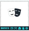 Comedy and tragedy theatrical masks icon flat