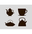Cups and jugs silhouettes vector image vector image