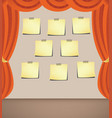 curtain with note- papers vector image