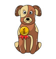 cute dog sitting with medal award vector image vector image