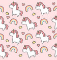 cute unicorn and rainbow seamless pattern vector image