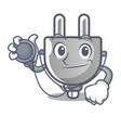 doctor power plug stuck the cartoon wall vector image