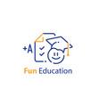 fun education concept emoticon and checklist vector image