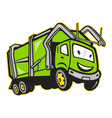 Garbage Rubbish Truck Cartoon vector image vector image