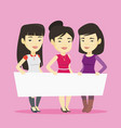 group of young women holding white blank board vector image