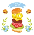 Hamburger ingredients on white background vector image