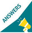 hand holding megaphone with answers announcement vector image vector image