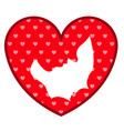 heart shape with mother and son silhouette vector image