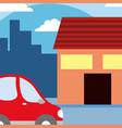 house with car cartoon vector image