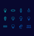 light bulbs illumination and lamps line icons vector image