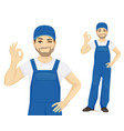 man in overalls ok vector image