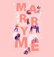 marry me concept men making romantic proposal to vector image vector image