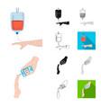 medicine and treatment cartoonblackflat vector image