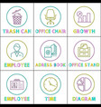 office arrangement and worktime management icons vector image