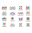 partners logo connecting people teamwork vector image