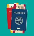 passport with tickets icon isolated on background vector image vector image