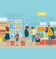 people in store customer choose food supermarket vector image vector image