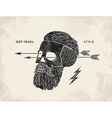 Poster of vintage skull hipster label Retro old vector image