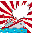 Scene with shipwreck in the ocean vector image
