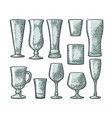 set empty glass beer whiskey wine gin rum vector image vector image