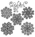 set of snowflakes holiday collection black and vector image vector image