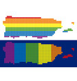 spectrum pixel dotted puerto rico map vector image