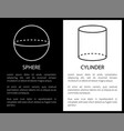 sphere and cylinder geometric shape simple figures vector image