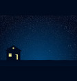 starry blue nighy sky shining stars alone house vector image