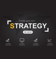 strategy icons with world black map for business vector image vector image