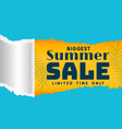 summer sale template in torn paper style vector image vector image