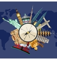 Time to travel concept with famous attractions vector image vector image