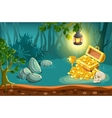 Treasure Chest And Fantasy Landscape vector image vector image