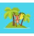 Vacation on Tropic Island Cartoon Concept vector image