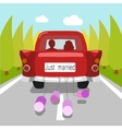 Wedding car just married cartoon vector image vector image