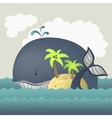Whale and island in blue sea vector image