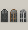 wooden arched doors vector image vector image