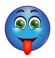 Blue emoticon showing tongue vector image