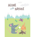 alone with nature card with rat vector image vector image