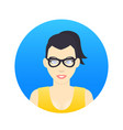 avatar icon girl in glasses in flat style vector image