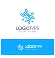 bio dna genetics technology blue outline logo vector image