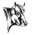 black contour portrait horned bull vector image vector image