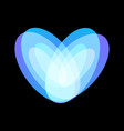 blue abstract heart symbol on black background vector image vector image