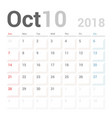 calendar planner october 2018 week starts sunday vector image vector image